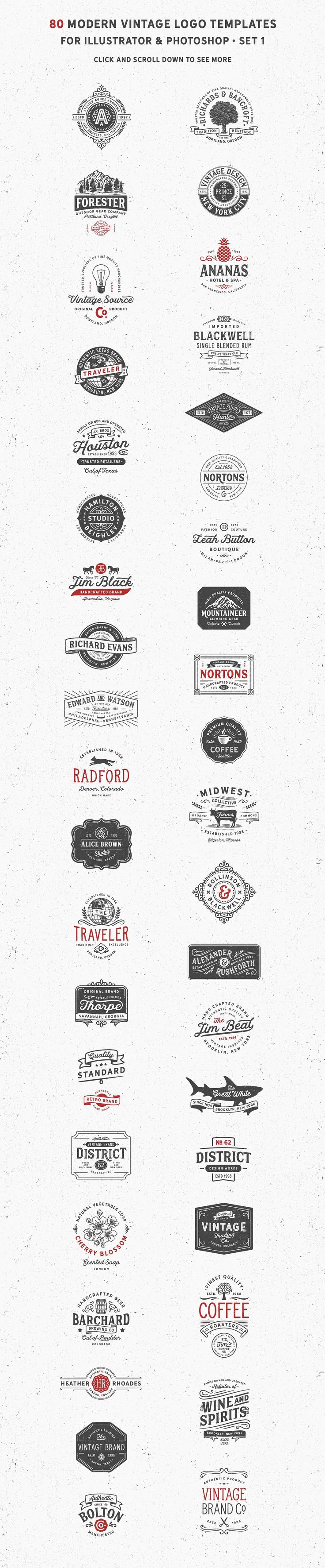 80 Modern Vintage Logos vol 2 by DISTRICT 62 studio on @creativemarket
