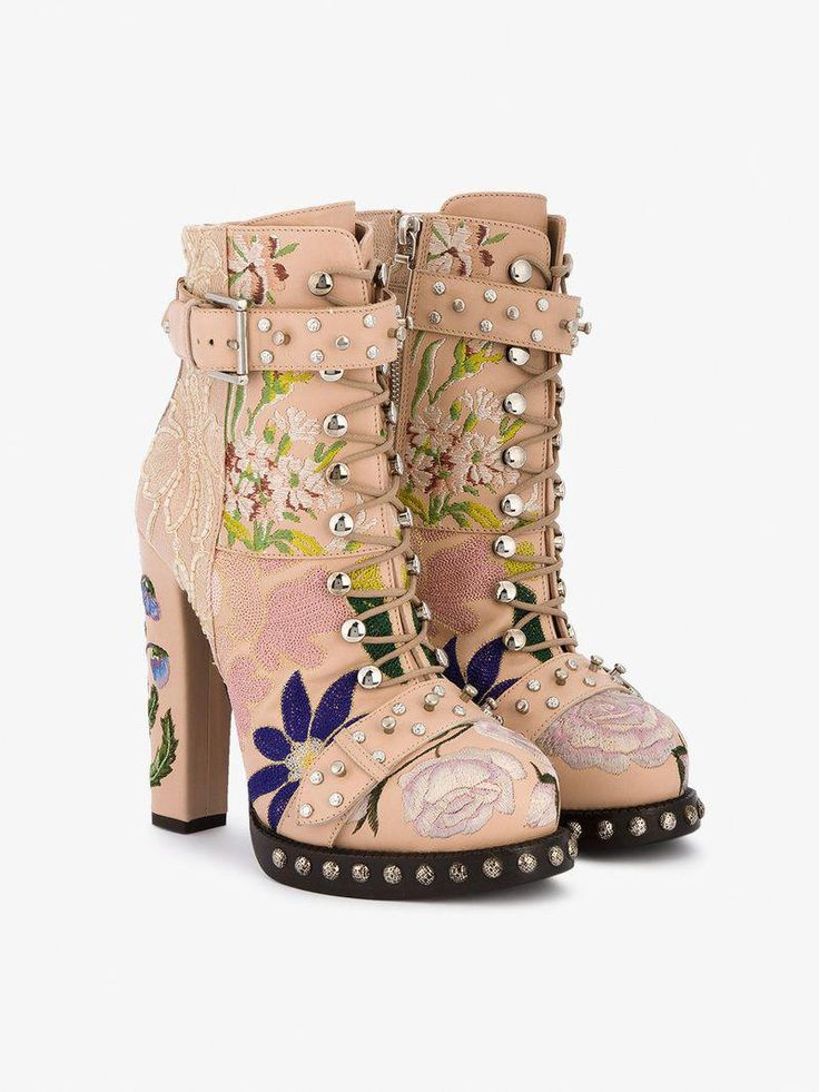Alexander McQueen High Heeled Leather Floral Embroidered