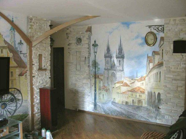 The Streets Of Prague Hand Painted Wall Mural. Itu0027s Nice How The Real Clock  Is Part 73