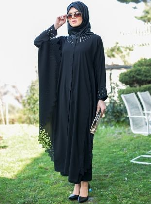 Lazer Desenli Ferace Siyah G Zel Moda Ferace