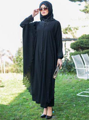 Lazer Desenli Ferace - Siyah - Güzel Moda