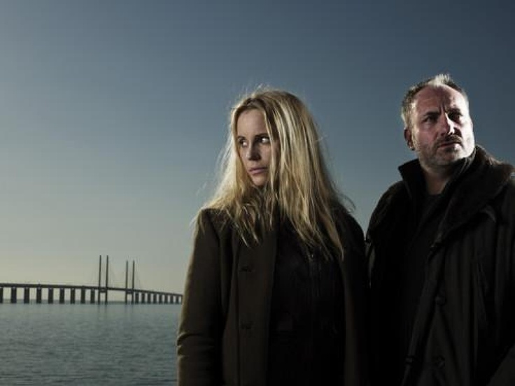 Sofia Helin and Kim Bodnia in 'The Bridge'  Swedish / Danish collaboration on BBC4.  In the opening episode, a body is found in the centre of the bridge. Seemingly, it's been chopped in half. However, close inspection reveals that the two halves belong to two separate bodies, one Danish, one Swedish.