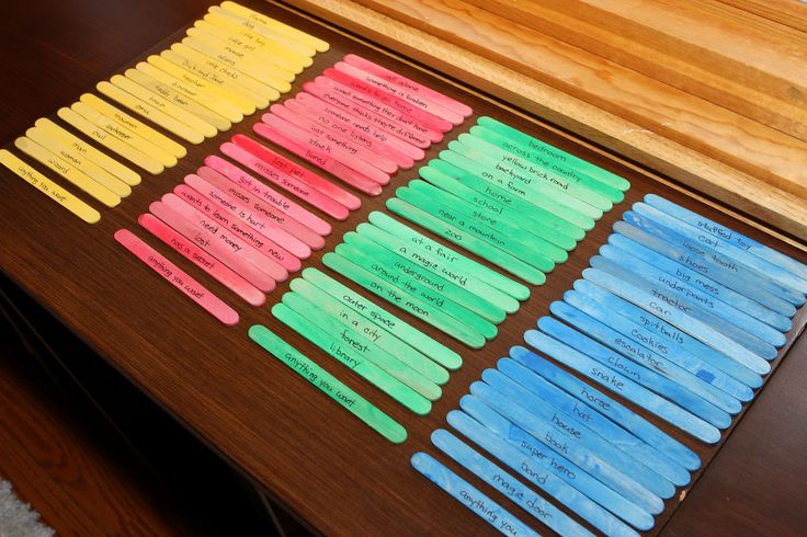 """Story Sticks. Yellow = character, Red = conflict, Green = setting, Blue = """"Special"""". Choose one of each and then make up a story based on what you've selected."""