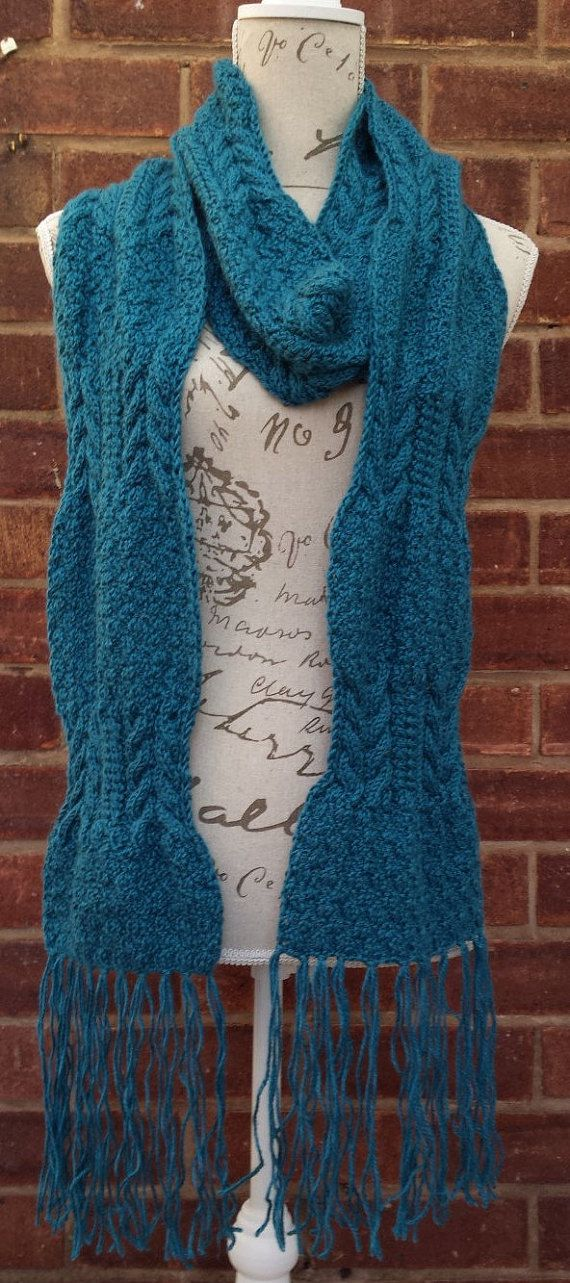 Ully Woolly Hand-Knitted Teal Color Scarf