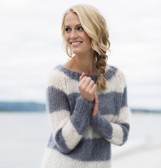 Strikk en stilig og stripete Acne-inspirert genser med raglanfelling