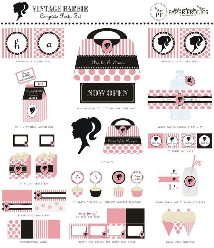 Barbie Silhouette Free Printable Kits.