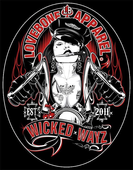 Here she is ladies! WICKED WAYZ!! Our most bad ass babe yet! She will be available on ladies tanks and tees in time for the Spring Motorcycle Show in April. #badassbikerbabe #wickedwayz