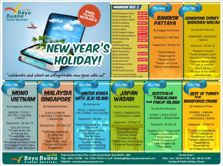 New Year Holidays Tour Packages    Departure from Bali    Call Bayu Buana Bali on +62 361 755 788 or email: ticketing@bayubuanatravel.com
