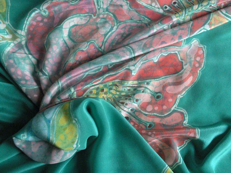 silk handpainted foulard www.ilgiardinodellacerorosso.com