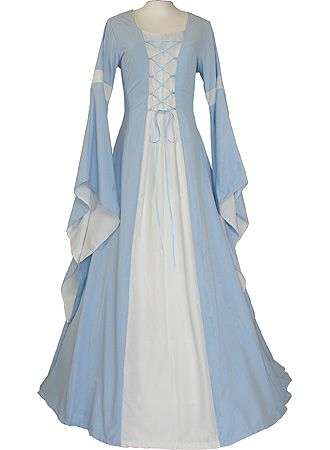 Baby blue & white. All my old wench-style garb that I got rid of on e-bay cuz I was tired of it and needed room in my rennfaire cedar chest was these colors. So I have no business liking this, but I can't help myself - it's adorable.