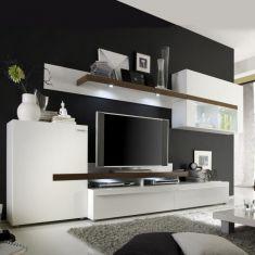 Obývací stěna PLANO bílá / ořech