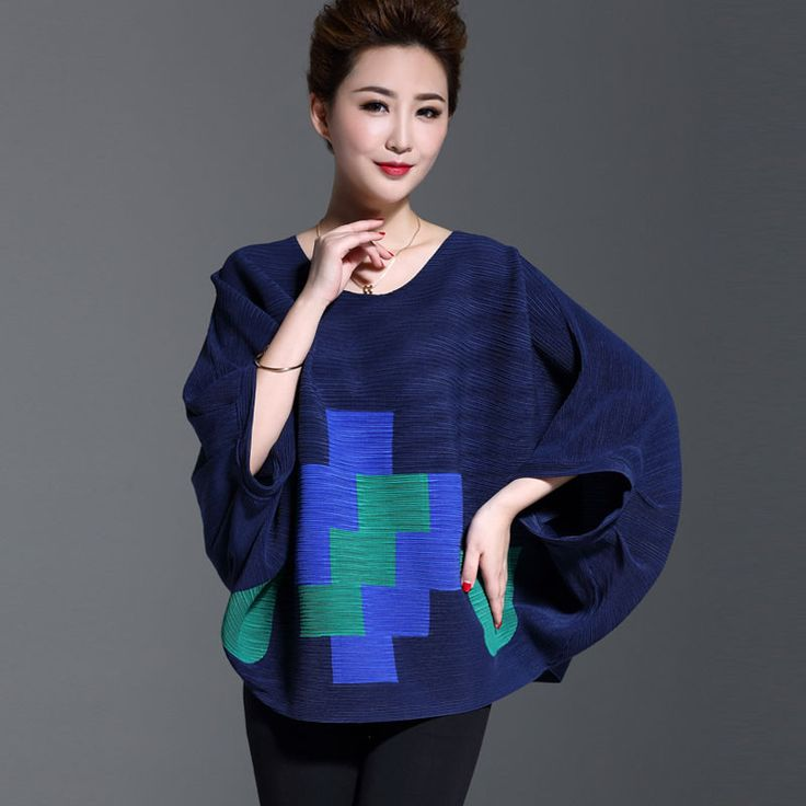 Womens traditional chinese tops yellow/red/bule O-neck 3/4 batwing sleeve print plaid spring loose blouse shirt female