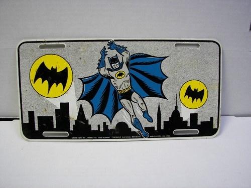 Superman Car Accessories: Vintage 1966 Groff Signs Batman Car Tag License Plate