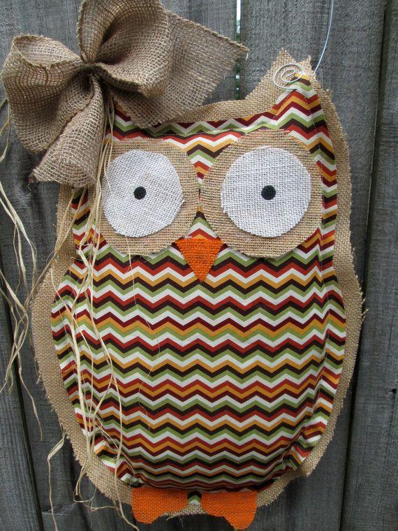 Owl Burlap Door Hanger Door Decoration Fall Chevron Pattern via Etsy