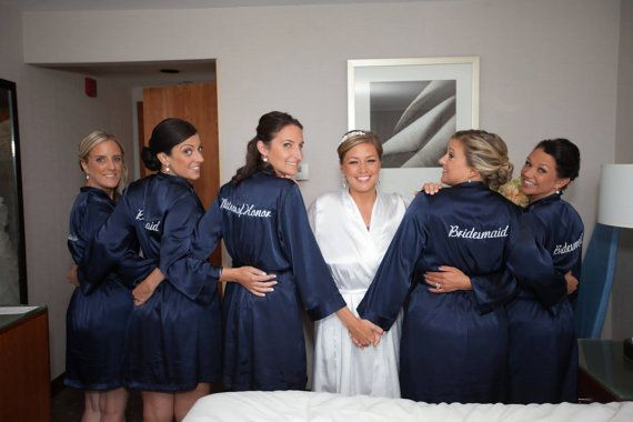 Birdal Party Robes make getting ready for your specail day GLAMORIOUS. Made of high quality satin provides a silk feel but machine washable.