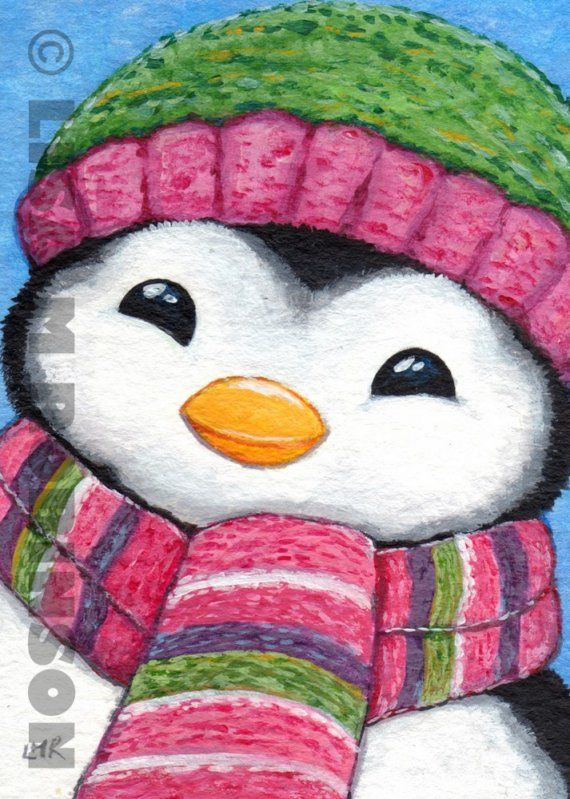 Original acrylic ACEO CUTE Festive PENGUIN by lisamarieart, £12.00 ...BTW, please check this out: http://artcaffeine.imobileappsys.com