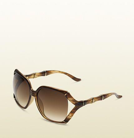Gucci - grandes lunettes de soleil avec monture rectangulaire avec effet bambou et logo gucci au niveau des tempes 289668J16911112