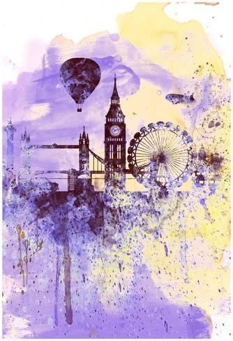 London Watercolor Skyline Pôsters por NaxArt na AllPosters.com.br