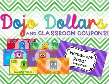 Class Dojo Dollars, Editable Tewards Poster, and Classroom Coupons $