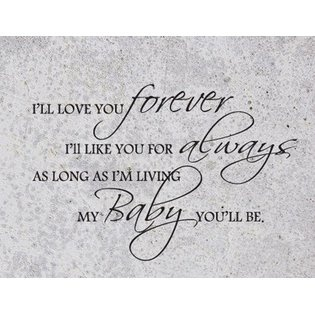 The Custom Vinyl Shop I'll Love You Forever, I'll Like You for Always, As Long As I'm Living, My Baby You'll Be - Vinyl Wall Sticker Quotes Sayings Nu at Sears.com