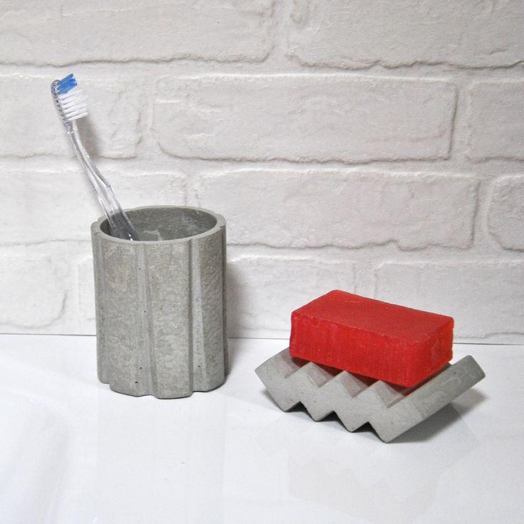 Cement soap dish handmade. Bathroom decor. de MicaRicaShop en Etsy