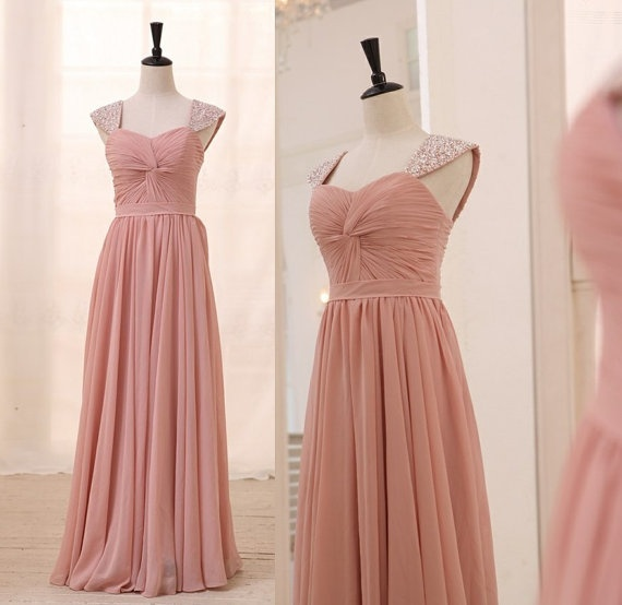 Dusty rose light pink cap sleeves chiffon bridesmaid dress for Rose pink wedding dress