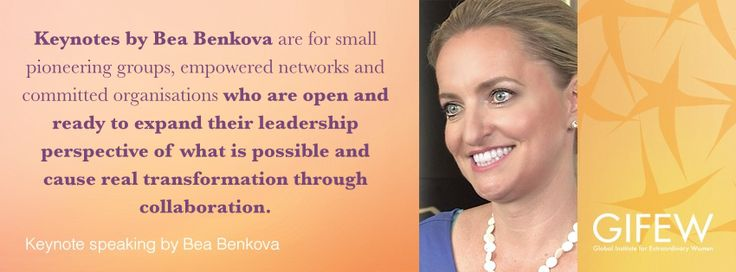 In front of an audience - whether opening open a conference, delivering a keynote speech or seminar at an event, Bea engages her visionary and inspirational style and a pioneering content to communicate new possibilities, awaken sleeping potential and call people into action. www.gifew.org