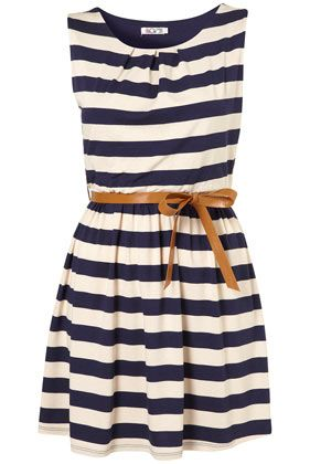 Stripe Belted Dress by Wal G**