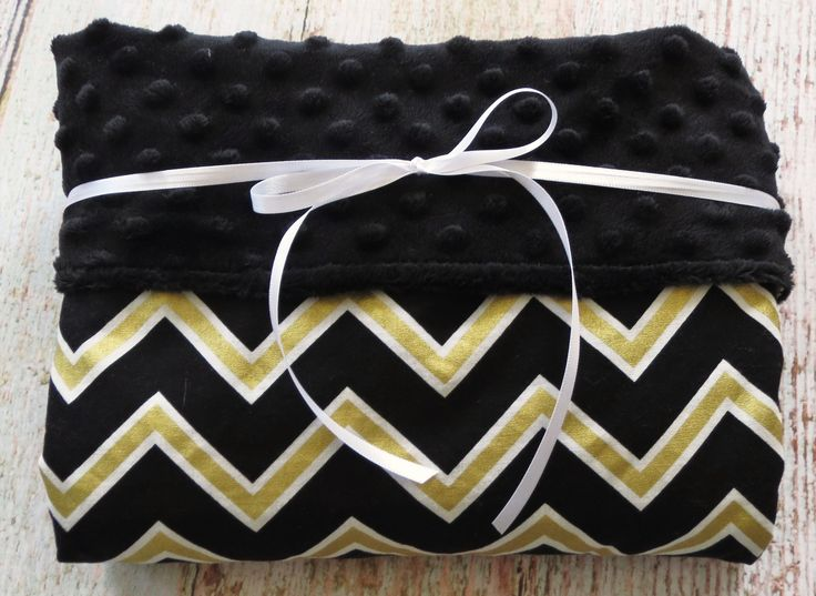 Baby Blanket - Black Gold Chevron Blanket - Black Minky Blanket - Baby Shower Gift