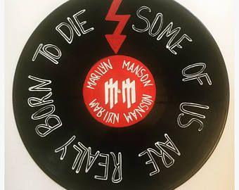 Hand Painted Marilyn Manson Lyrics On Vinyl Record