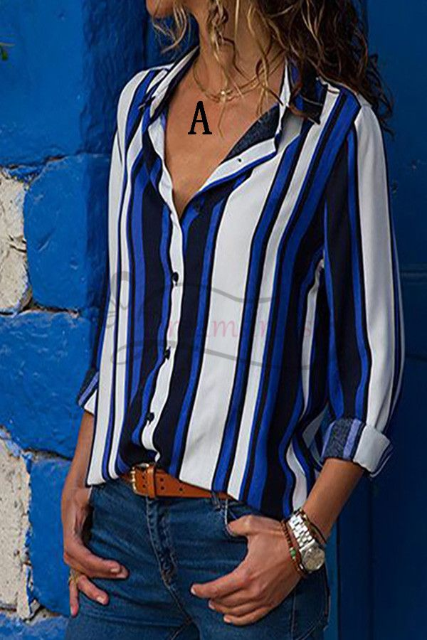 7cd2231db22885 Casual Blue and White Blouse in 2019   Tina - Formal Dresses   Shirt ...