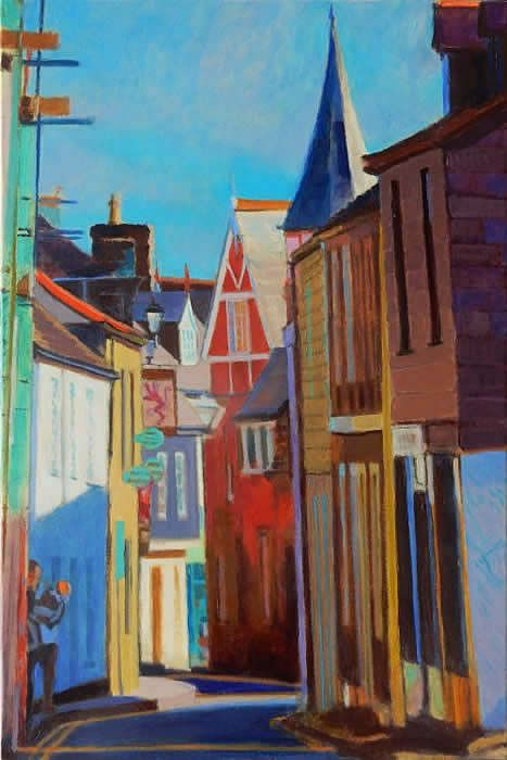 Morning light down Fore Street St Columb painting by Tom Henderson Smith approx 76 x 51 cm. Acrylic on stretched canvas