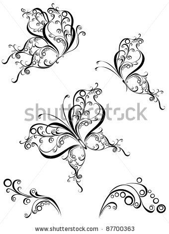 stock vector : Vector set black white butterflies of a tattoo. Silhouette butterflies