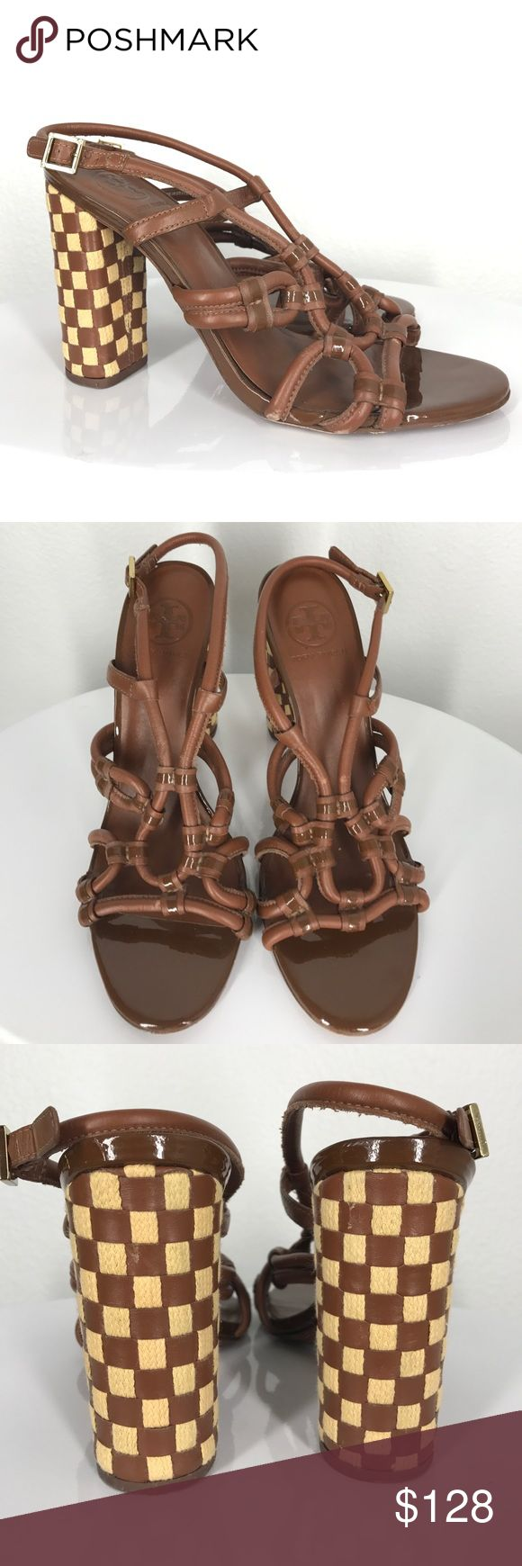 """Tory Burch checkered brown heels size 9 Stunning checkered heels. They are in great used condition. Some minor scuffs on the leather straps. The heels are about 4"""" tall. The cross straps on the front have some wear. The back of the left heel has a very tiny cut in the leather. Tory Burch Shoes Heels"""