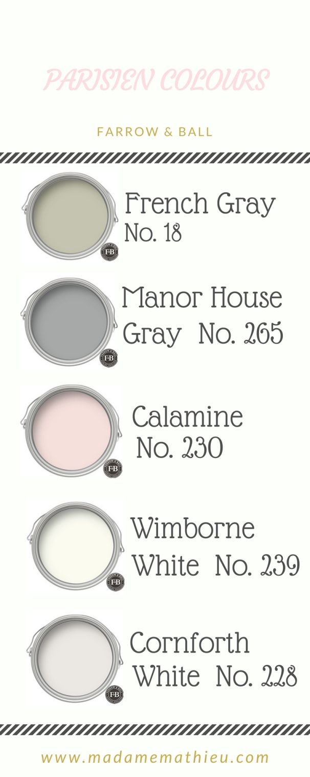 Parisien colour palette - blush pink, light gray and a muted green with lots of white