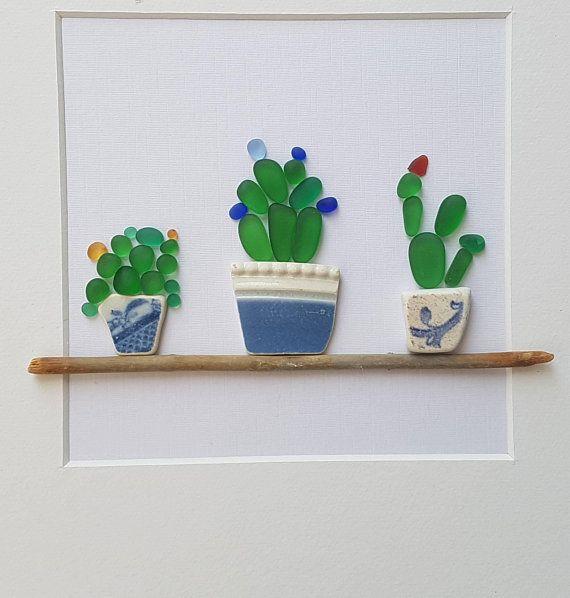 Sea Glass Art Cactus Succulents Sea Glass Pebble Cactus Sea Glass Crafts Sea Glass Art Diy Sea Glass Art Projects