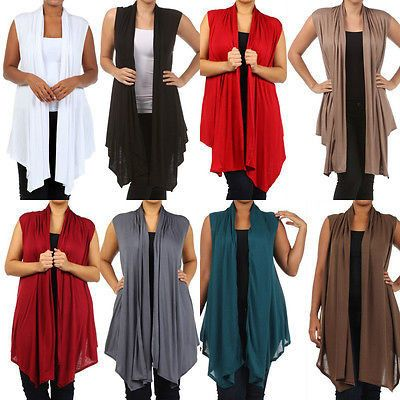 Plus Size Vest Women Open Front Asymmetrical New Wrap Sleeveless 1X 2X 3X Casual