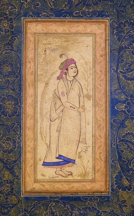 """Young Prince with Brands on his Arm  Iran, Isfahan, ca. 1630  """"This drawing was signed by Riza-i Abbasi, the most influential Persian artist during the reign of Shah Abbas and throughout the 17th century. The young man with the round chin – identified as Prince Kamran Shah Hindi – is a good example of the ideals of a new era. Album leaves with charming but slightly decadent courtiers seem to have dominated the artistic scene, supplemented by portraits of Sufis, wrestlers, and other personage"""