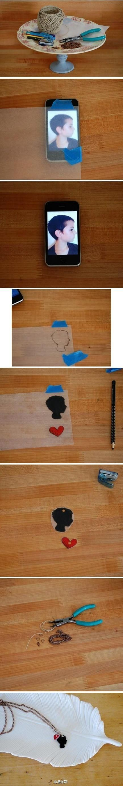 Shrink dink your children!  A silhouette touch of beautiful scenery. Handmade silhouette necklace, sounds very special? Is to use something called shrinky dink material is a children's plastic toys material can be drawn in the above pattern (some can use the printer to print to the top), and then placed in the oven for two minutes, you can reduce the size of 3 times (9 times volume reduction).