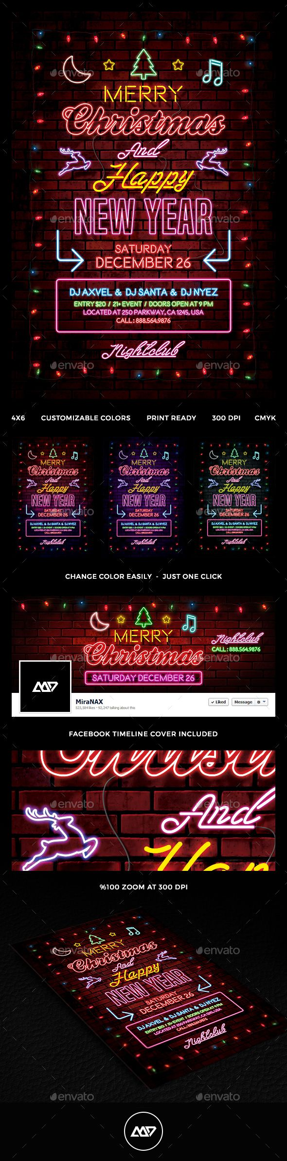 Christmas Flyer — Photoshop PSD #glow #nye • Available here → https://graphicriver.net/item/christmas-flyer/13956862?ref=pxcr