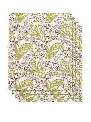 20% OFF Couleur Nature Set of 4 Batik Bird Napkins, Mauve/Green