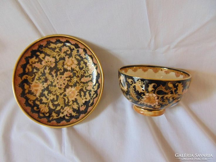 Zsolnay teás csésze tányérral 1878-85  hibatlan
