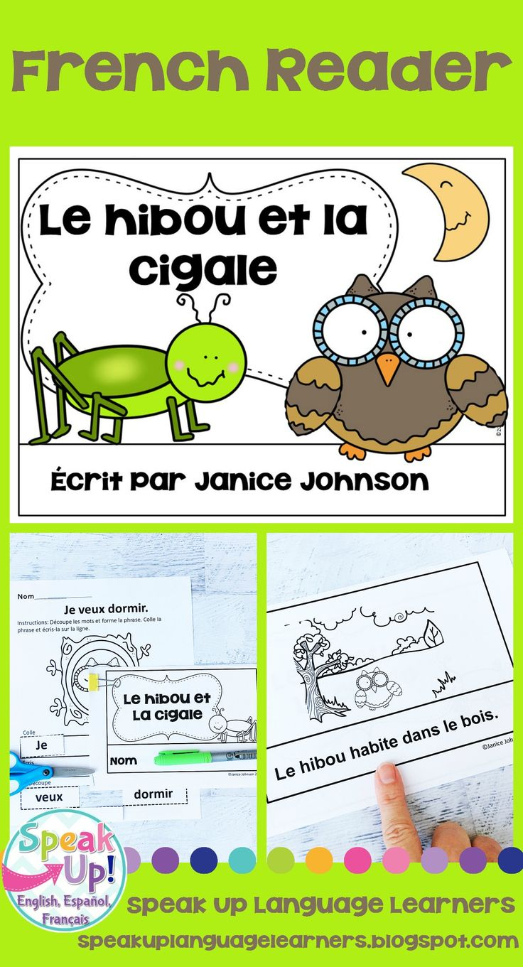 Le hibou et la cigale French Owl & Grasshopper Fable Reader Simplified