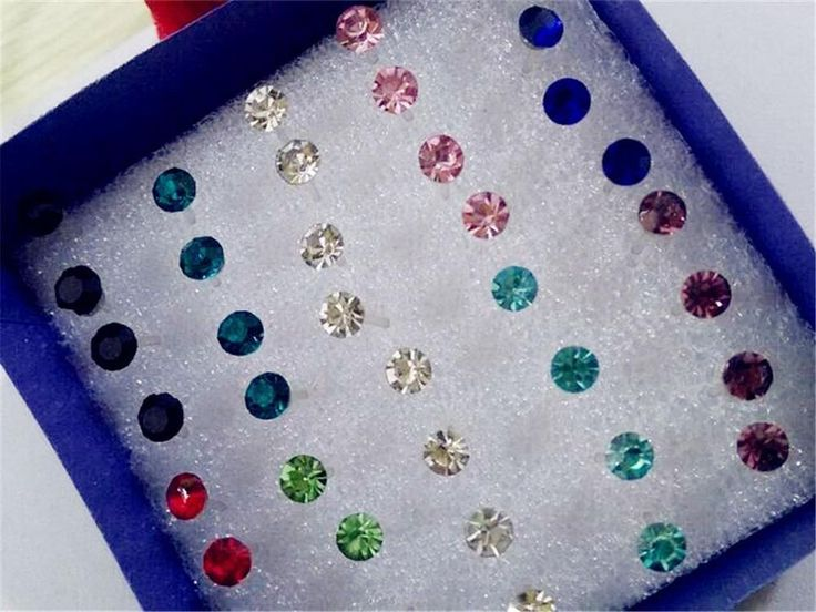 Wholesale 40pcs Lots Crystal Mix Color Earring Stud Ear Pin Allergy Free Jewelry #Unbranded #Stud