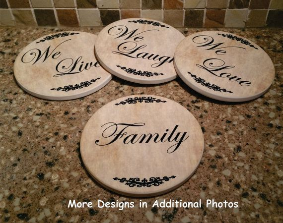 Sandstone Coasters FAMILY*WE LIVE* WE LAUGH*WE LOVE giftsby3jpawprints on Etsy