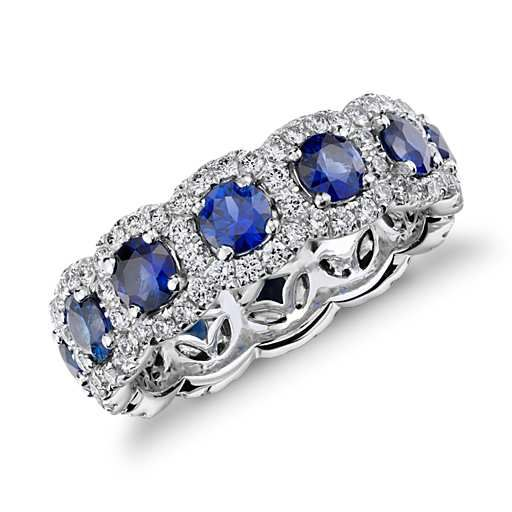 Sapphire and Diamond Halo Eternity Ring in 18k White Gold, size 6.5