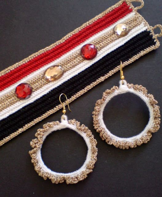 Crochet handmade bracelet and earrings. For more information contact katerina_liosatou@yahoo.gr.