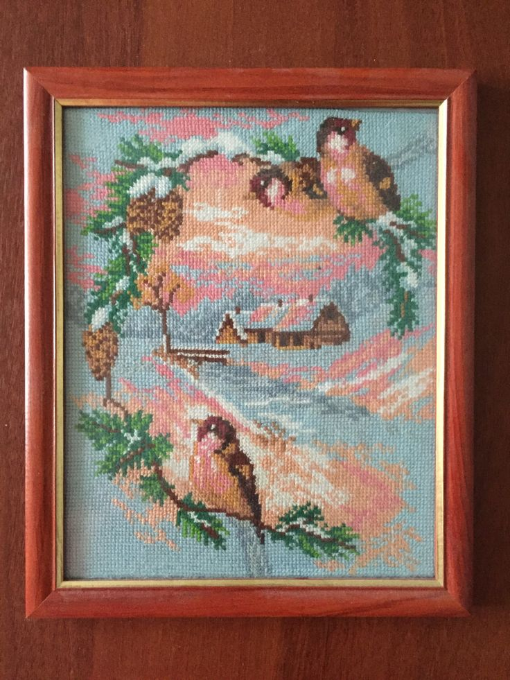 """Completed cross stitch, Home decoration, Framed cross stitch, Handmade embroidery -""""Snegiri"""". Free shipping by NattikStudio on Etsy"""