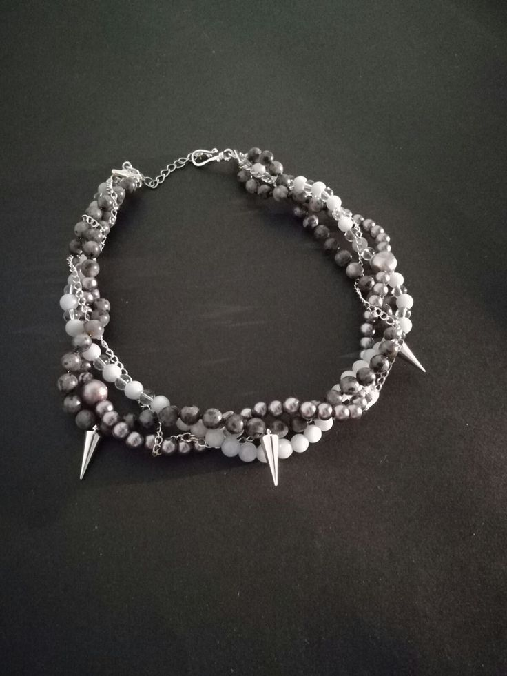 Stylish necklace made by Lada with our gray labradorite 2334 https://www.etsy.com/listing/478807744/2334gray-labradorite-beads-6mm-larvikite?ga_search_query=2334&ref=shop_items_search_1 and Blue angelite beads 2373