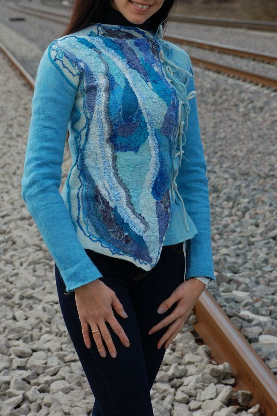"Giacca ""Denim"", giacca di lana, giacca elegante, giacca blu, originale giacca in feltro"